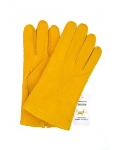Deerskin gloves with hand stitching cashmere lined Ocra Yellow