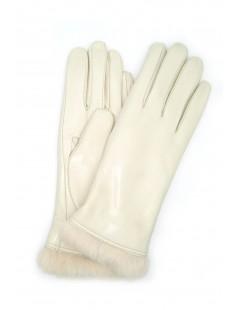 Nappa leather gloves 4bt Rabbir fur lined Cream Sermoneta