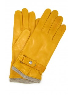 Nappa leather gloves cashmere lined with strap Ocra Yellow
