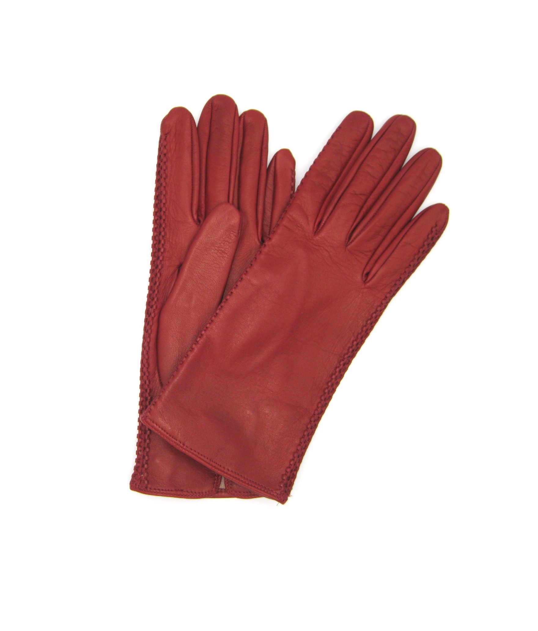 Nappa leather gloves 2bt silk lined with side tracks Dark Red