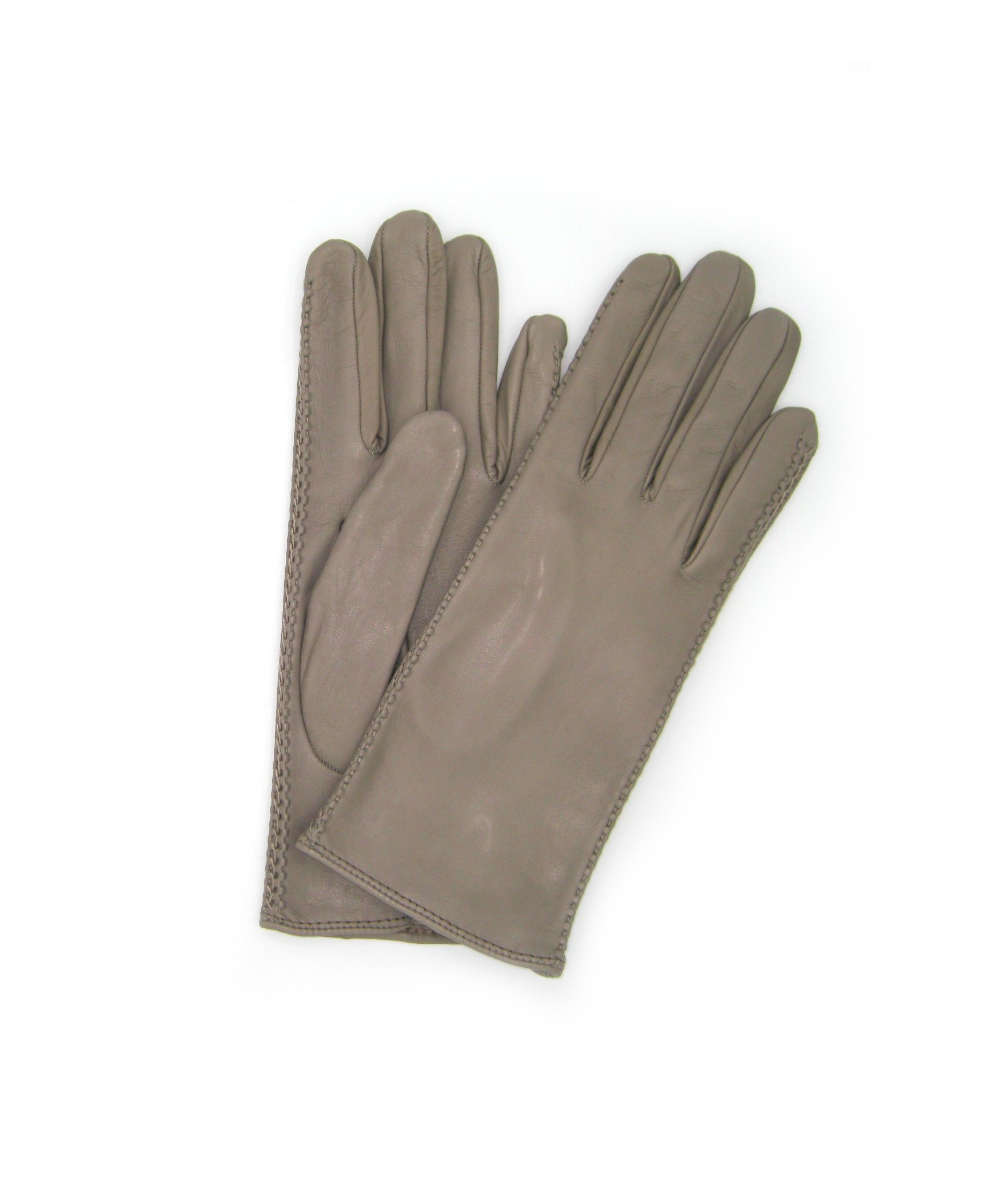 Nappa leather gloves 2bt silk lined with side tracks Mud