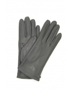 Nappa leather gloves 2bt silk lined with side tracks Grey