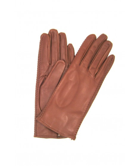 Nappa leather gloves 2bt silk lined with side tracks Cognac