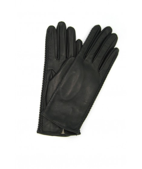 Nappa leather gloves 2bt silk lined with side tracks Black