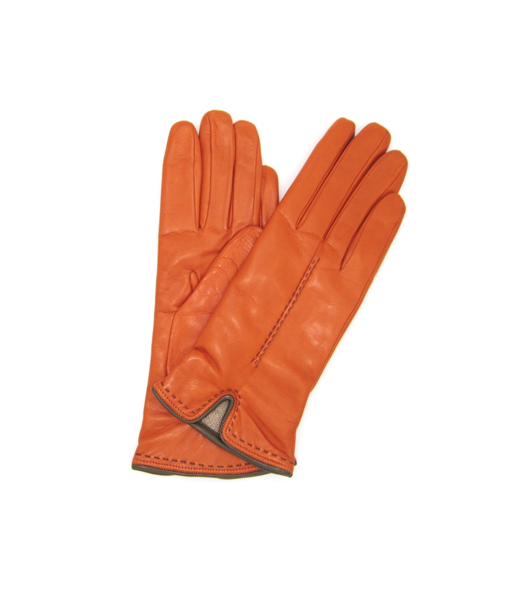 Guanto Nappa 2bt fod.cashmere dettaglio al polso Arancio/Mink