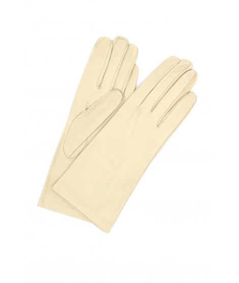 Nappa leather gloves 4bt Silk lined Cream Sermoneta Gloves
