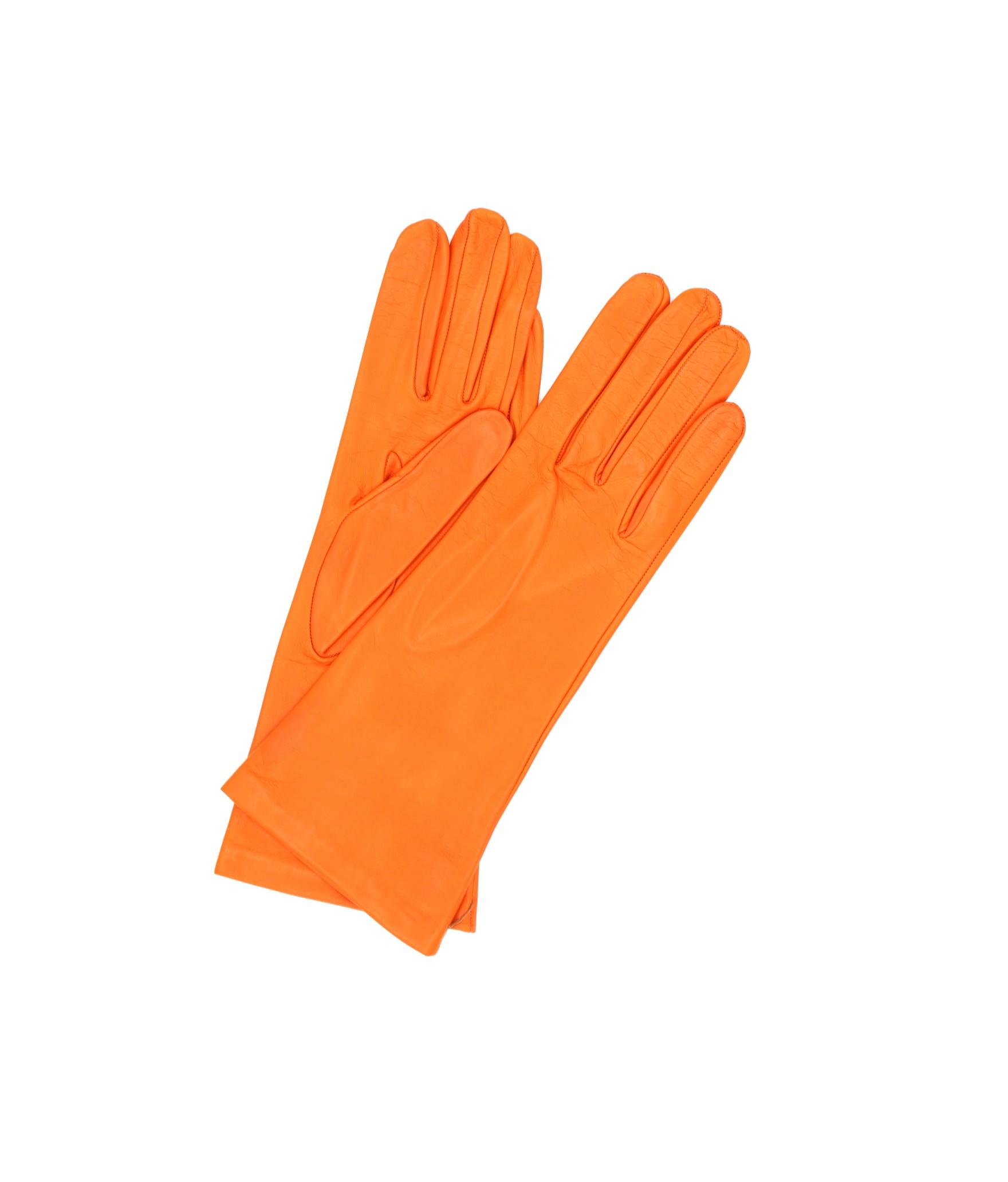 Nappa leather gloves 4bt Silk lined Orange Sermoneta Gloves