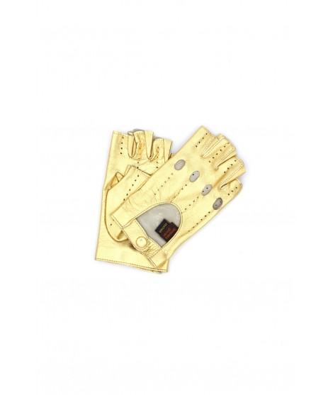 Driver gloves Leather fingerless Gold Sermoneta Gloves Leather