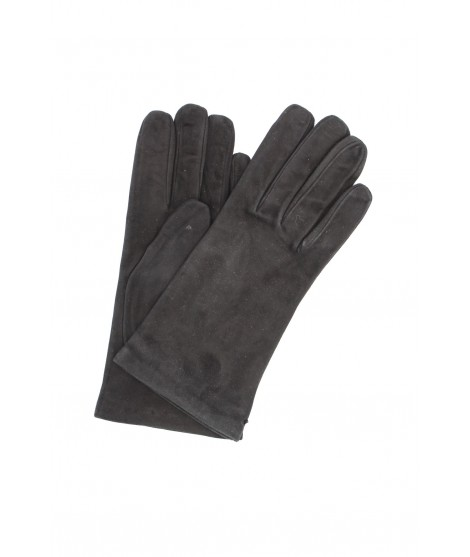 Suede Nappa leather gloves lined Cashmere Black Sermoneta