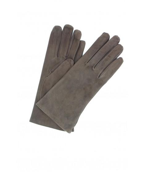 Suede Nappa leather gloves lined Cashmere DarkBrown Sermoneta
