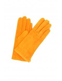 Suede Nappa leather gloves lined Cashmere Orange Sermoneta