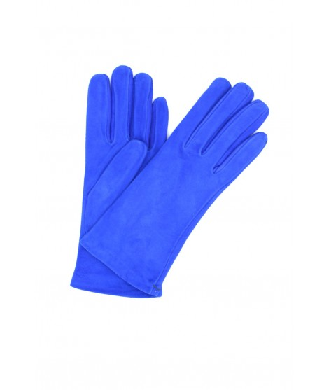 Suede Nappa leather gloves lined Cashmere Blu/Royal Sermoneta