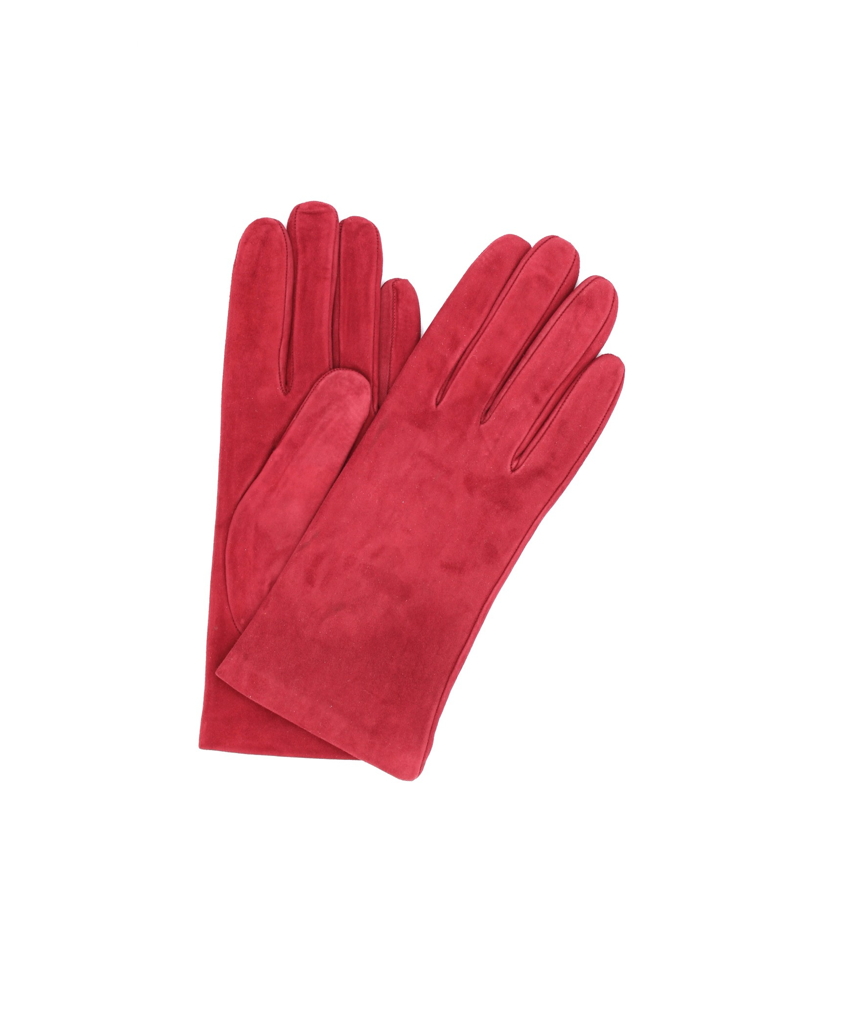 Suede Nappa leather gloves lined Cashmere Dark Red Sermoneta