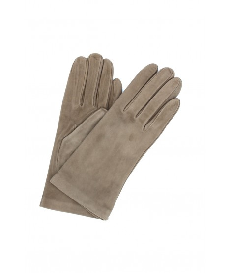 Suede Nappa leather gloves lined Cashmere Taupe Sermoneta