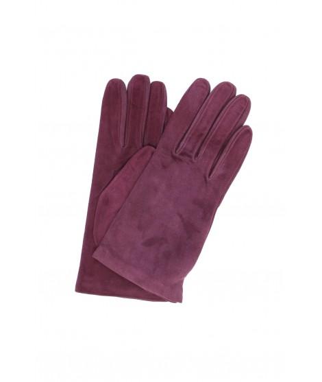 Suede Nappa leather gloves lined Cashmere Purple Sermoneta