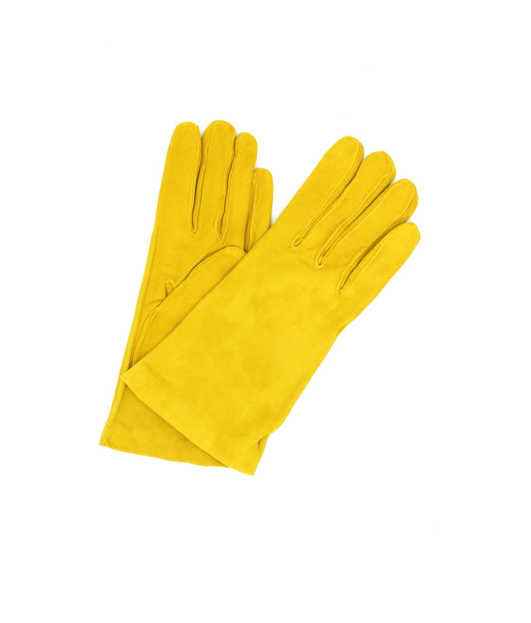 Suede Nappa leather gloves lined Cashmere Yellow Sermoneta