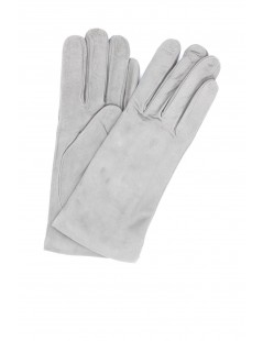 Suede Nappa leather gloves lined Cashmere Pearl Grey Sermoneta
