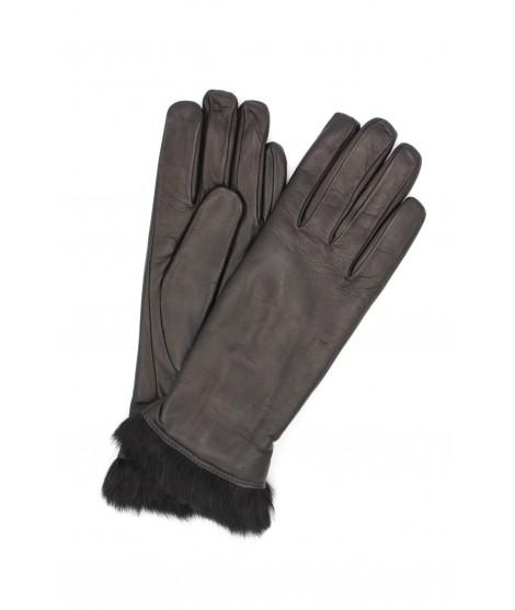 Nappa leather gloves 4bt Rabbir fur lined Black Sermoneta