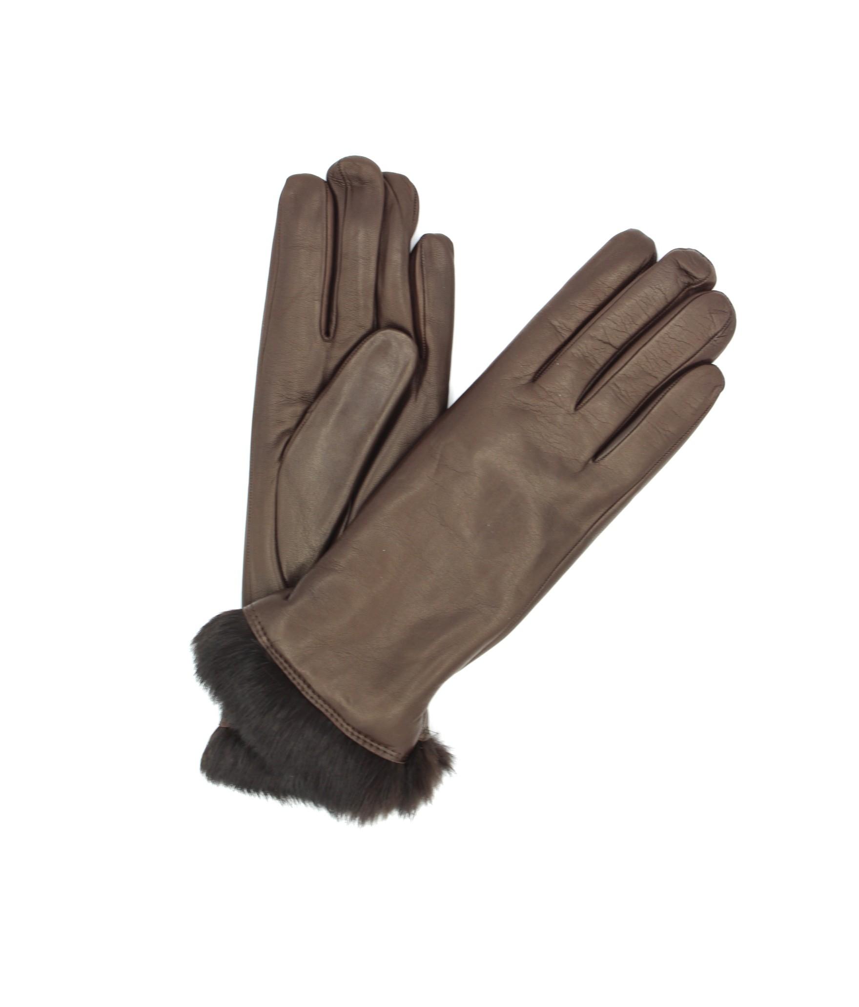 Nappa leather gloves 4bt Rabbir fur lined Dark Brown Sermoneta
