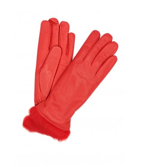 Nappa leather gloves 4bt Rabbir fur lined Red Sermoneta Gloves