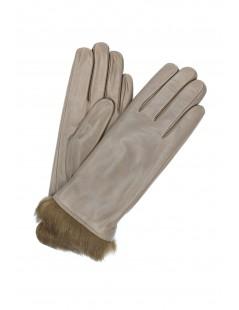 Nappa leather gloves 4bt Rabbir fur lined Mud Sermoneta Gloves