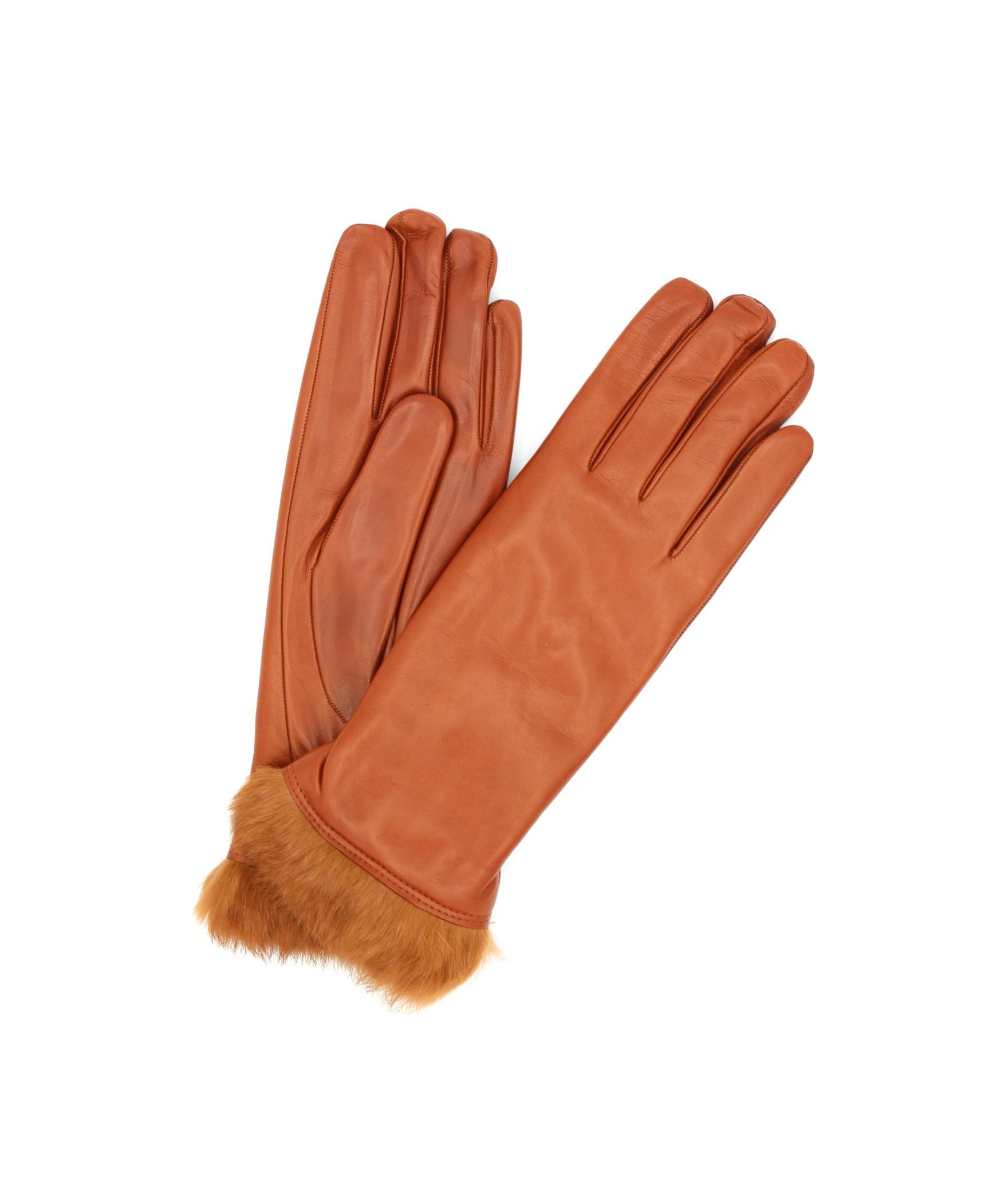 Nappa leather gloves 4bt Rabbir fur lined Tan Sermoneta Gloves