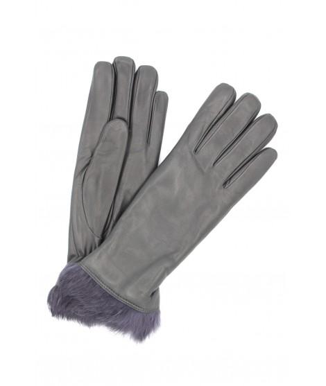 Nappa leather gloves 4bt Rabbir fur lined Dark Grey Sermoneta