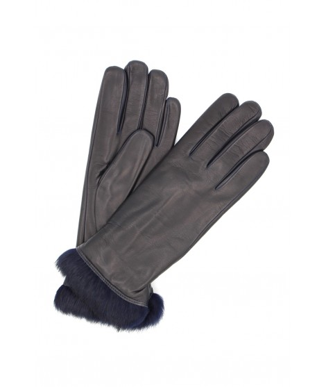 Nappa leather gloves 4bt Rabbir fur lined Navy Sermoneta Gloves