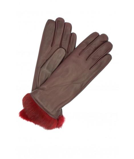 Nappa leather gloves 4bt Rabbir fur lined Bordeaux Sermoneta
