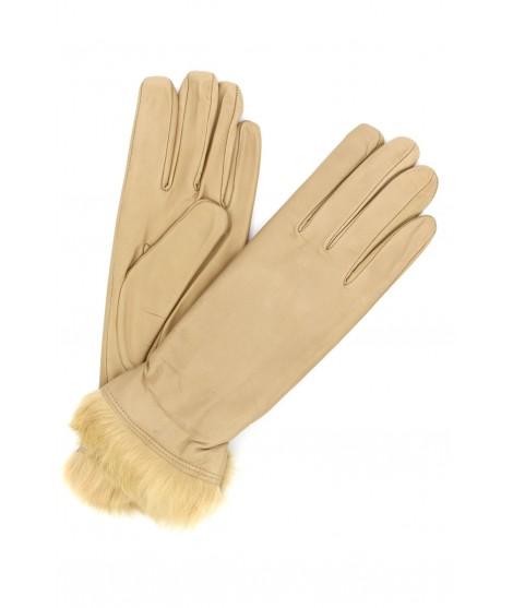 Nappa leather gloves 4bt Rabbir fur lined Beige/Taupe Sermoneta