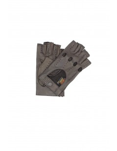 Driving gloves in Nappa Leather fingerless Dark Brown Sermoneta
