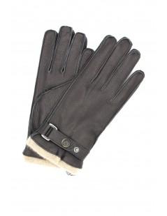 Deerskin gloves with strap Cashmere lined Black Sermoneta