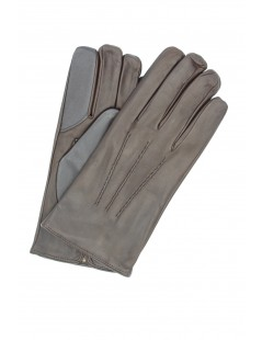 Touch Screen Nappa leather gloves, cashmere lined Dark Brown