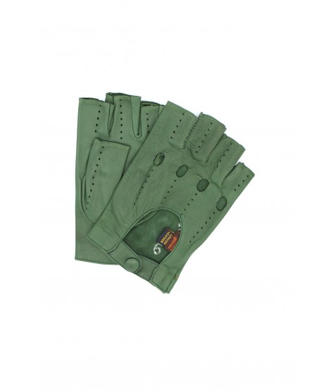Driving gloves in Nappa leather fingerless Olive Green