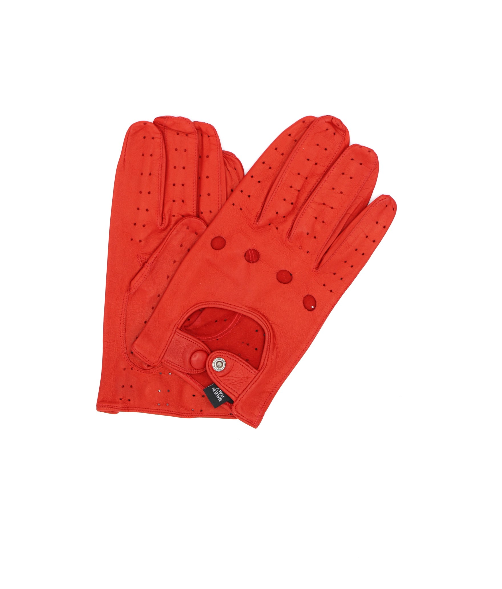 Driving gloves in Nappa leather Red Sermoneta Gloves Leather