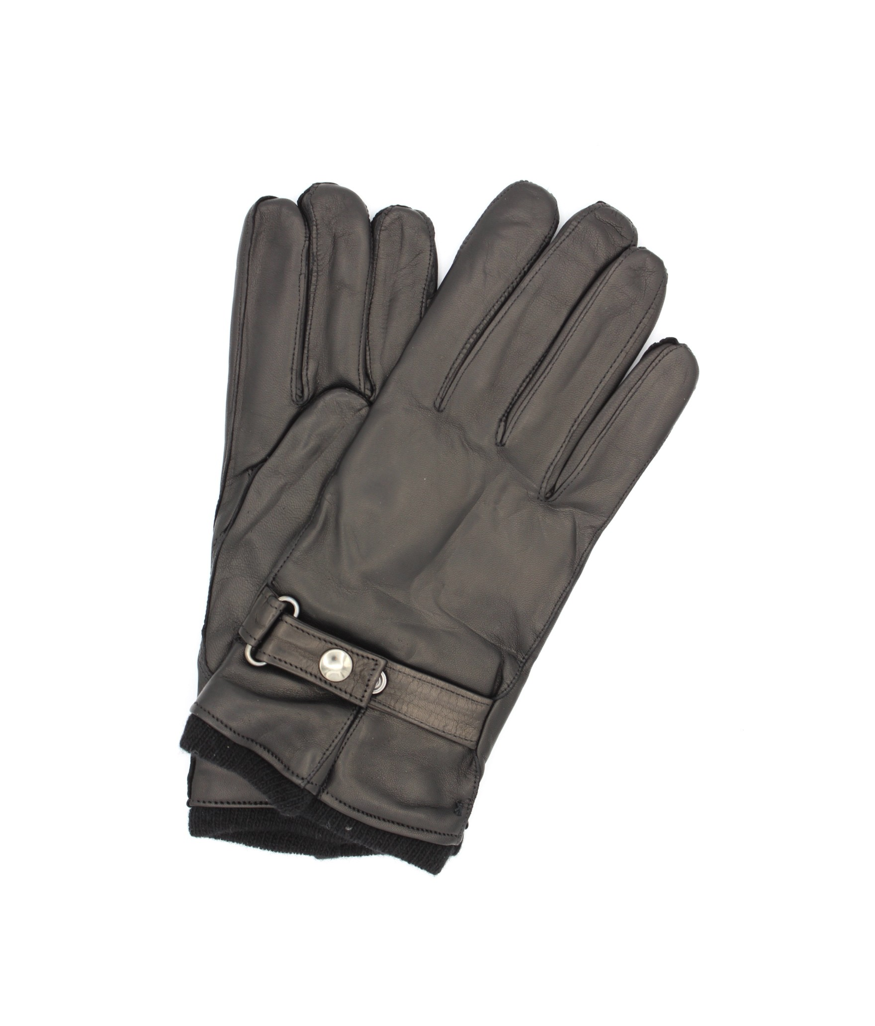 Nappa leather gloves cashmere lined with strap Black Sermoneta