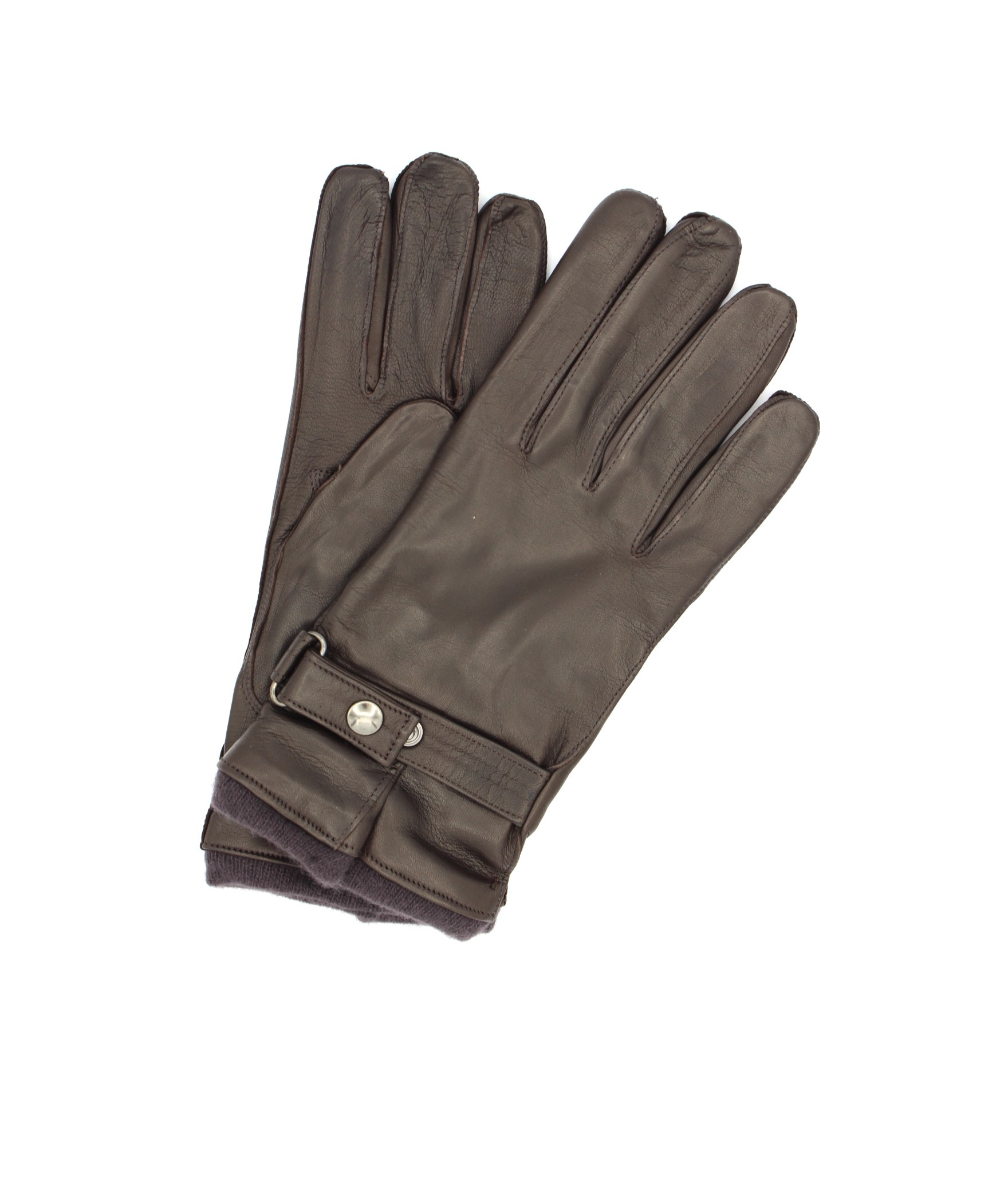 Nappa leather gloves cashmere lined with strap Dark Brown
