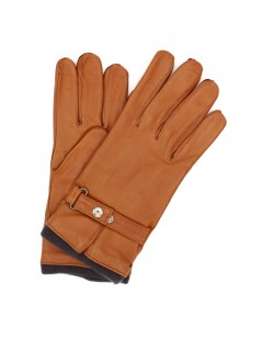 Nappa leather gloves cashmere lined with strap Tan Sermoneta