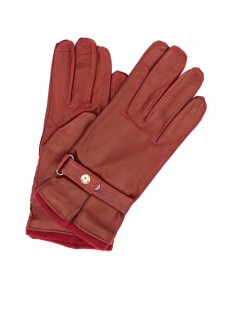 Nappa leather gloves cashmere lined with strap Dark Red