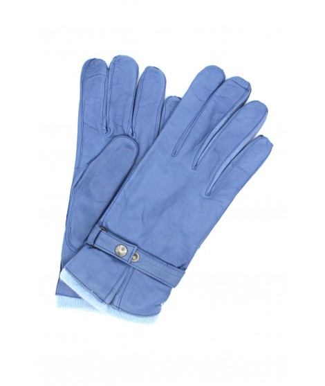 Nappa leather gloves cashmere lined with strap Denim Sermoneta