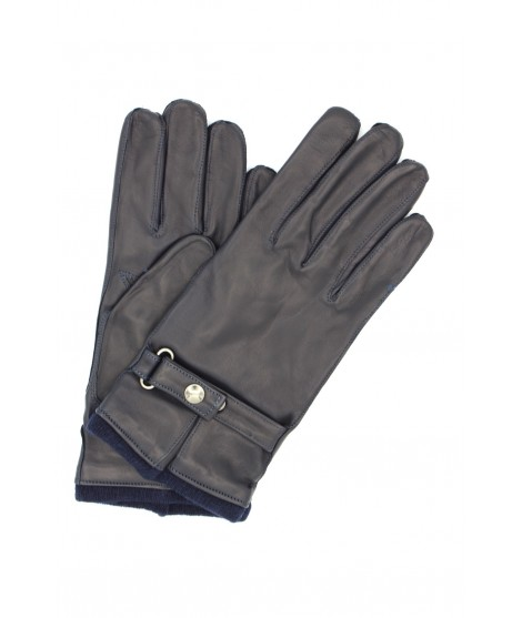 Nappa leather gloves cashmere lined with strap Navy Sermoneta