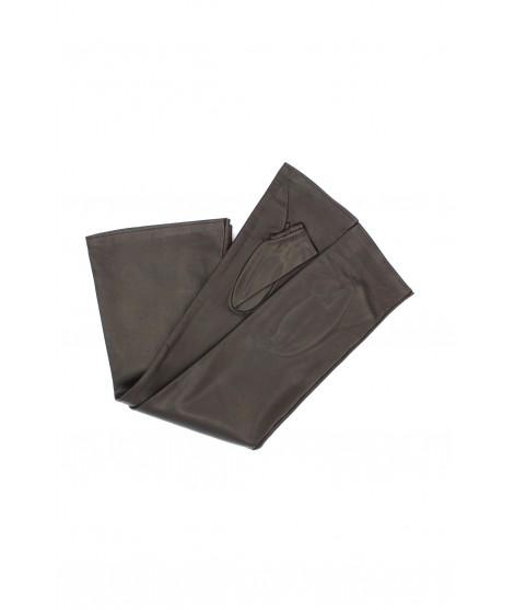 Half Mitten in Nappa leather 10bt silk lined Dark Brown