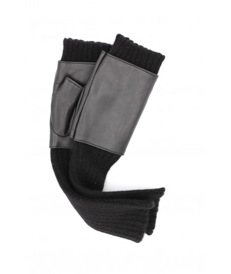 Half Mitten in Nappa leather and cashmere 8bt Black Sermoneta