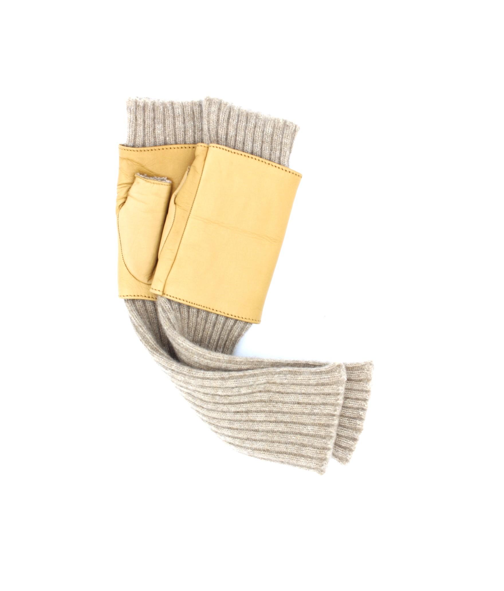 Half Mitten in Nappa leather and cashmere 8bt Camel Sermoneta