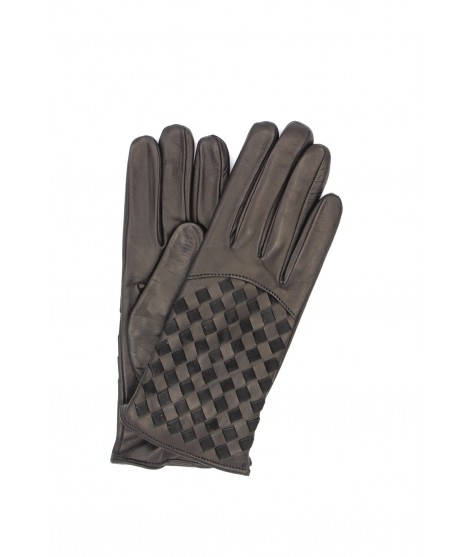 Nappa leather gloves 2bt,cashmere lined with Criss Cross Black