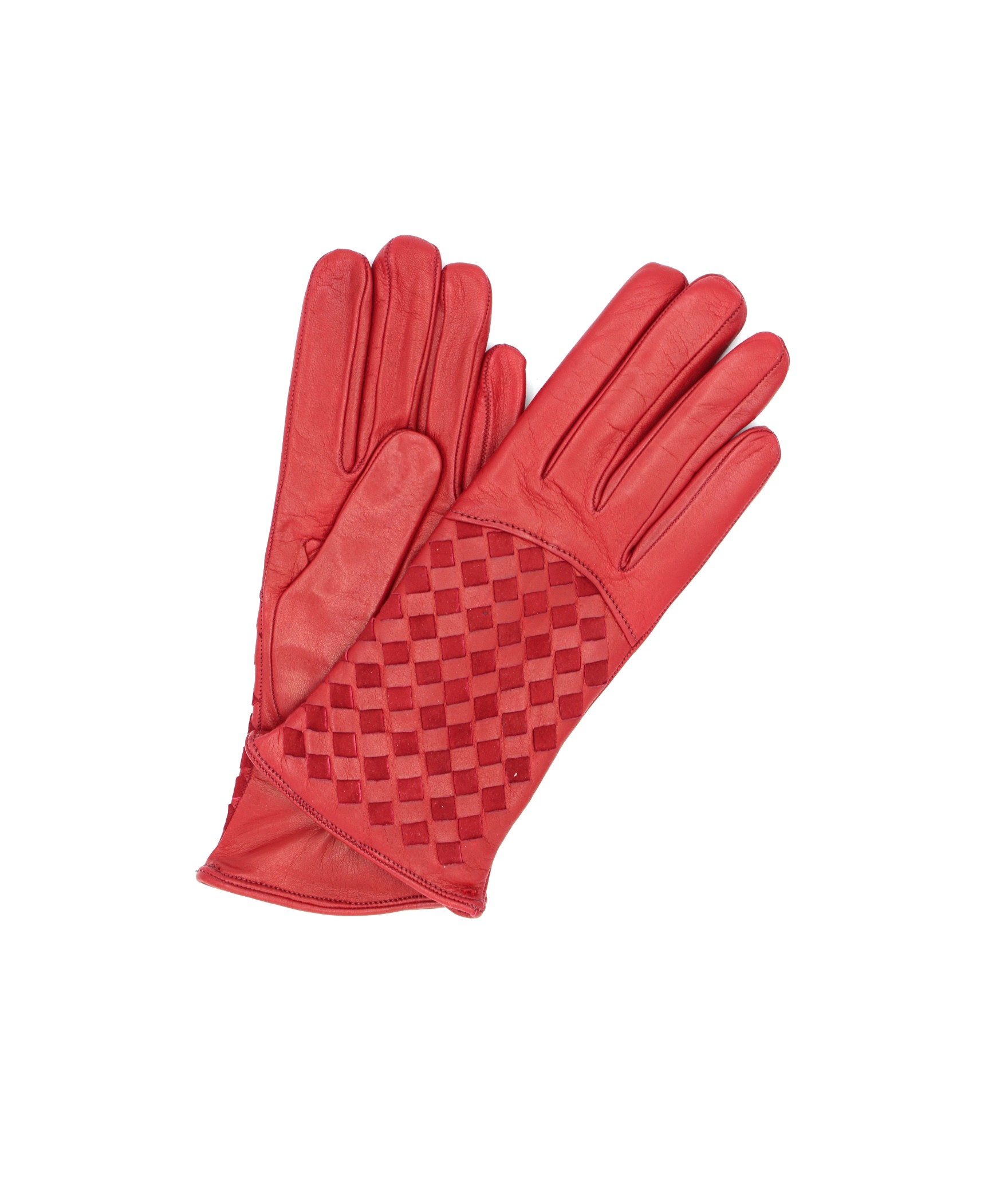 Nappa leather gloves 2bt,cashmere lined with Criss Cross