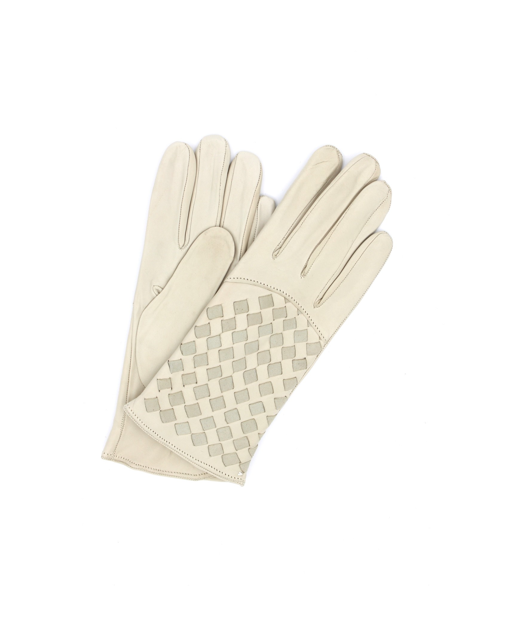 Nappa leather gloves 2bt,cashmere lined with Criss Cross Cream