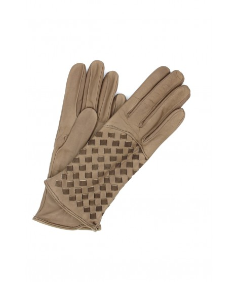 Nappa leather gloves 2bt,cashmere lined with Criss Cross Mud