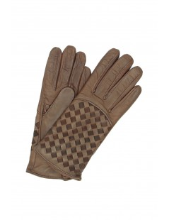 Nappa leather gloves 2bt,cashmere lined with Criss Cross Mink