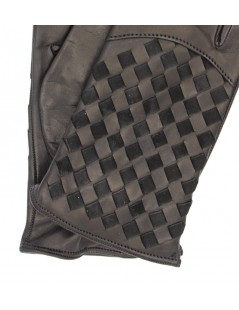 Nappa leather gloves 2bt,cashmere lined with Criss Cross Grey